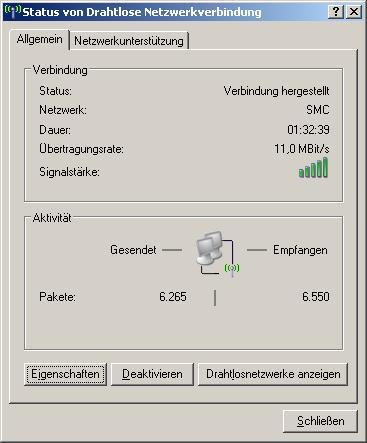 Konfigurationsoberfläche bei einem WLAN-Adapter