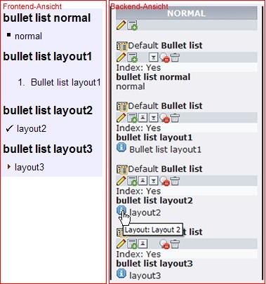 Einfügen von Listen in Typo3